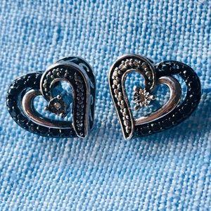 Kay Jewelers Silver Black Diamond Heart Earrings
